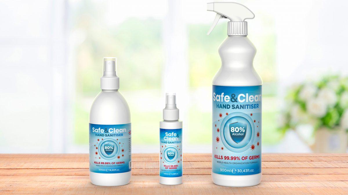 Safe&Clean hand sanitiser 3 bottles